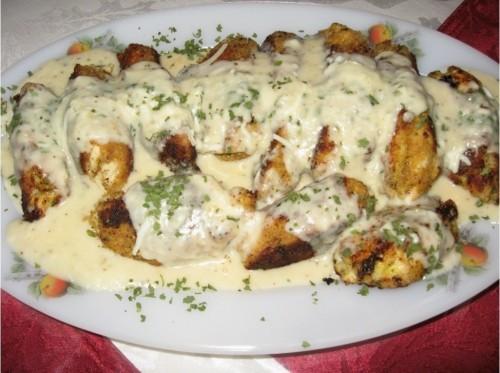 Sajtszószos csirkemell csíkok