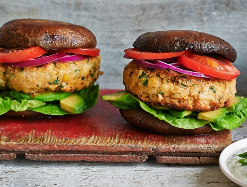 Chickpea Burgers in portobello buns