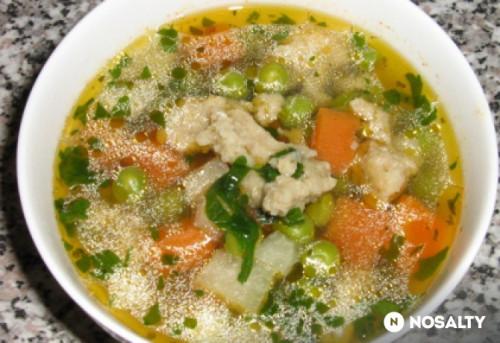 Zöldborsó leves galuskával